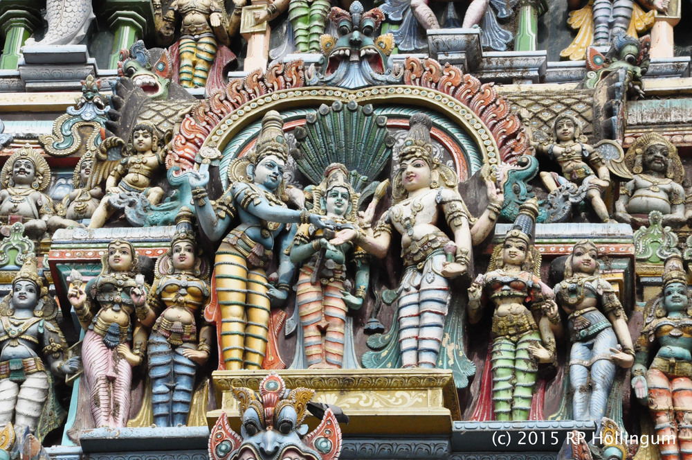 the gopurams or painted temple roofs
