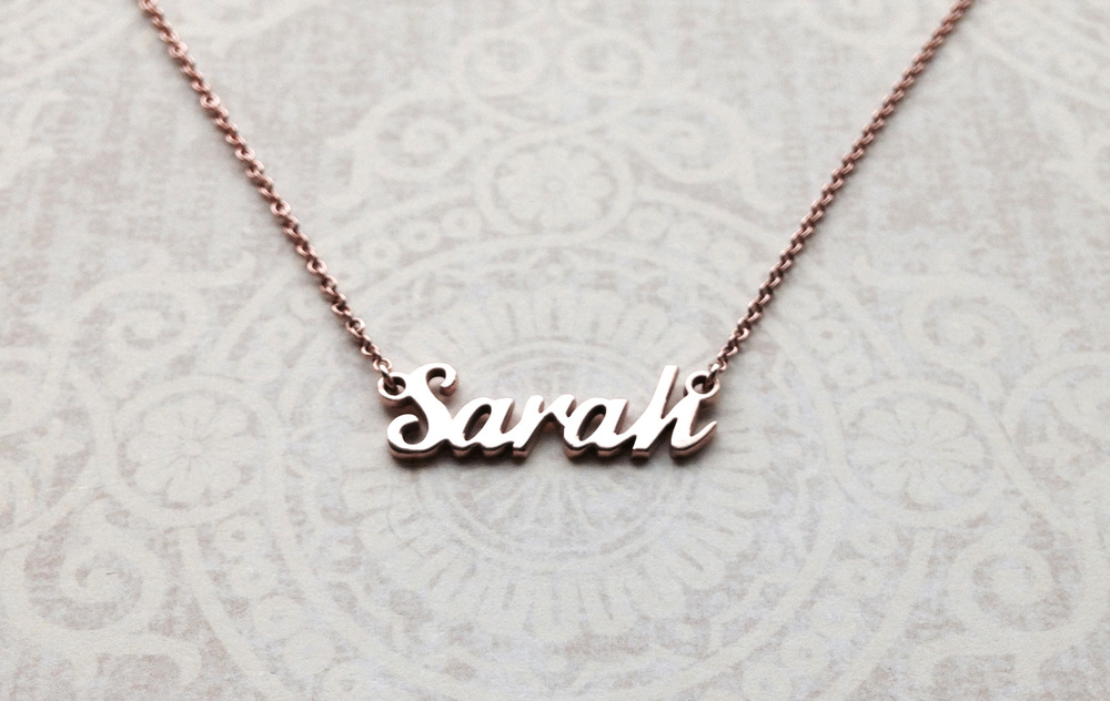 Bespoke Jewellery - rose gold name pendant