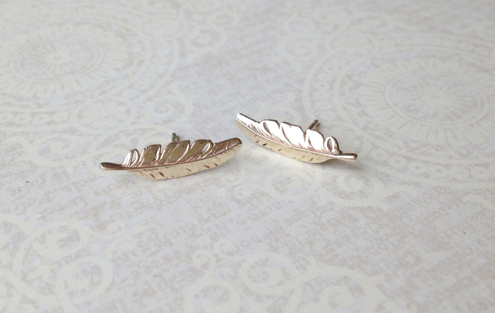 Bespoke Jewellery - gold feather earrings