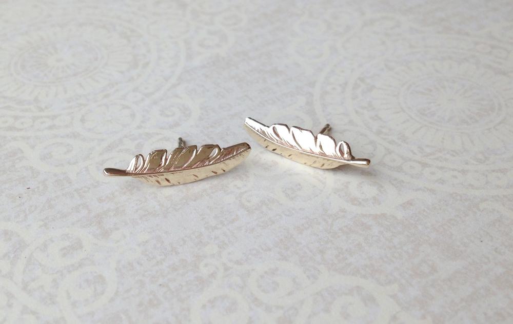 Bespoke Jewellery feather earrings gold feather earrings feather