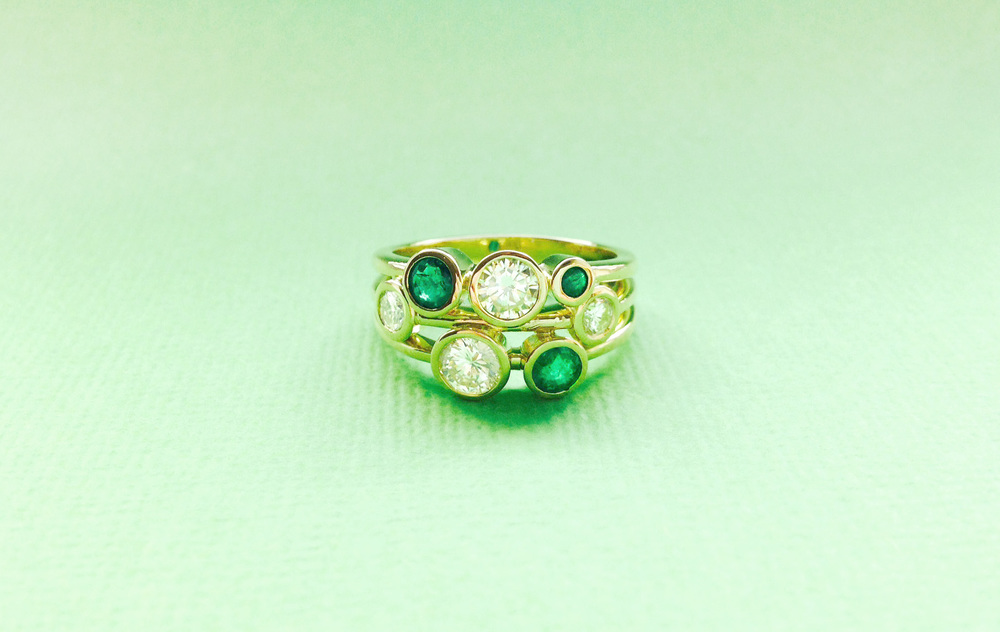 Bespoke Jewellery - unique emerald and diamond ring
