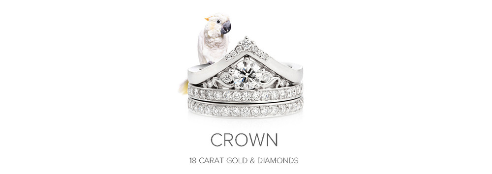 Crown Engagement Ring & Wedding Ring