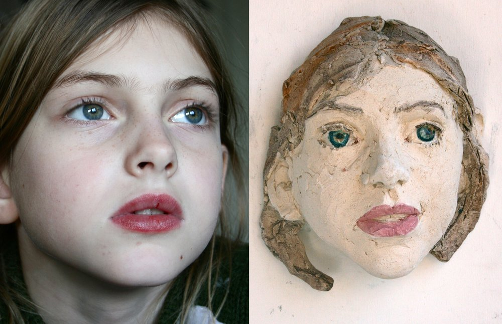 Children's portrait, ceramic, ± 15 cm in height, from € 350 and up.