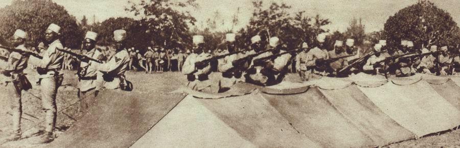 African soldiers, known as 'Askaris', fighting in German service in East Africa.