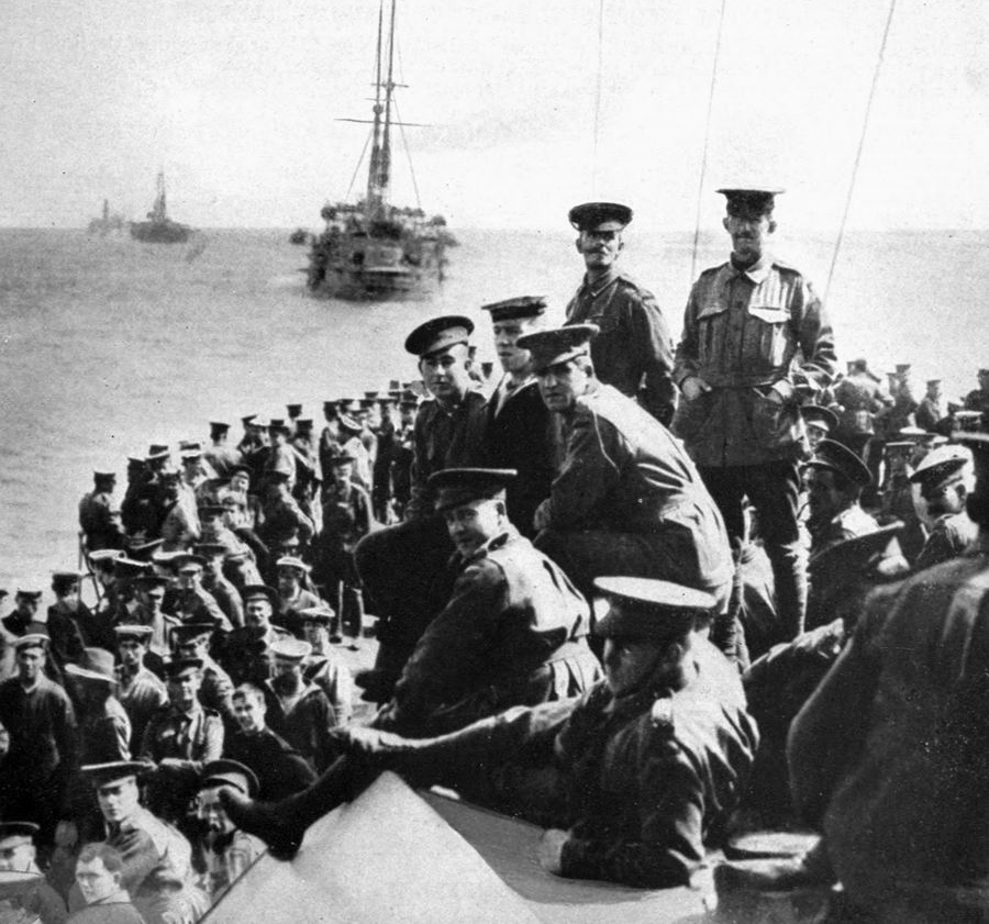 ANZACs on their way to Gallipoli, 1915.