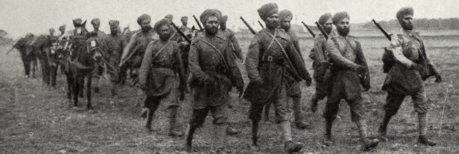 Soldiers of the British Indian Army on the Western Front. Indian units played a major role in the Battle of Neuve Chapelle, March 1915.