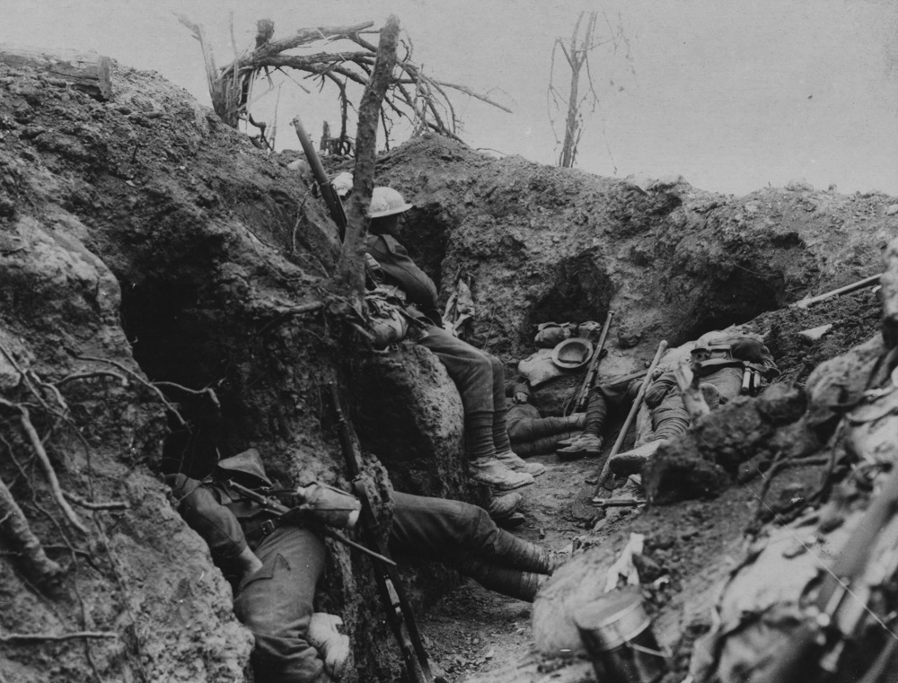 British infantry resting near Theipval Wood during the Battle of the Somme.