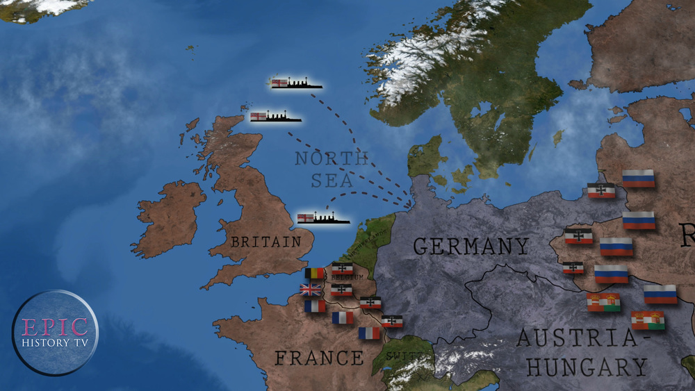 As soon as war was declared, Britain began a naval blockade of Germany, aiming to cut off all maritime trade and starve the Germany economy of much-needed resources. The British naval blockade in World War One was especially controversial as food was included in the list of prohibited goods, thereby targeting the German civilian population. The blockade also antagonised neutral countries, including the USA, who demanded that their trade with European nations not be interfered with.  WATCH THE VIDEO