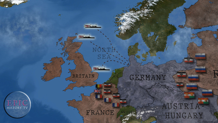 Epic history tv world war one maps as soon as war was declared britain began a naval blockade of germany aiming gumiabroncs Choice Image