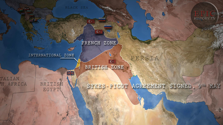 Epic history tv world war one maps the sykes picot agreement was a secret arrangement between the british and french to divide gumiabroncs Images