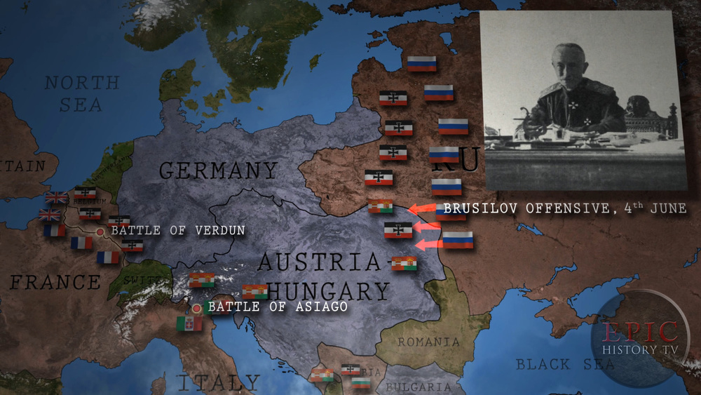 The Brusilov Offensive, named after its commander Russian General Alexei Brusilov, was originally planned as part of a co-ordinated series of Allied offensives against the Central Powers, but became a desperately needed means of easing the pressure on French forces at Verdun, and Italian forces at Asiago. The Brusilov Offensive was stunningly successful at first, taking huge numbers of Austro-Hungarian prisoners, but Russian casualties quickly mounted as the offensive dragged on.  WATCH THE VIDEO