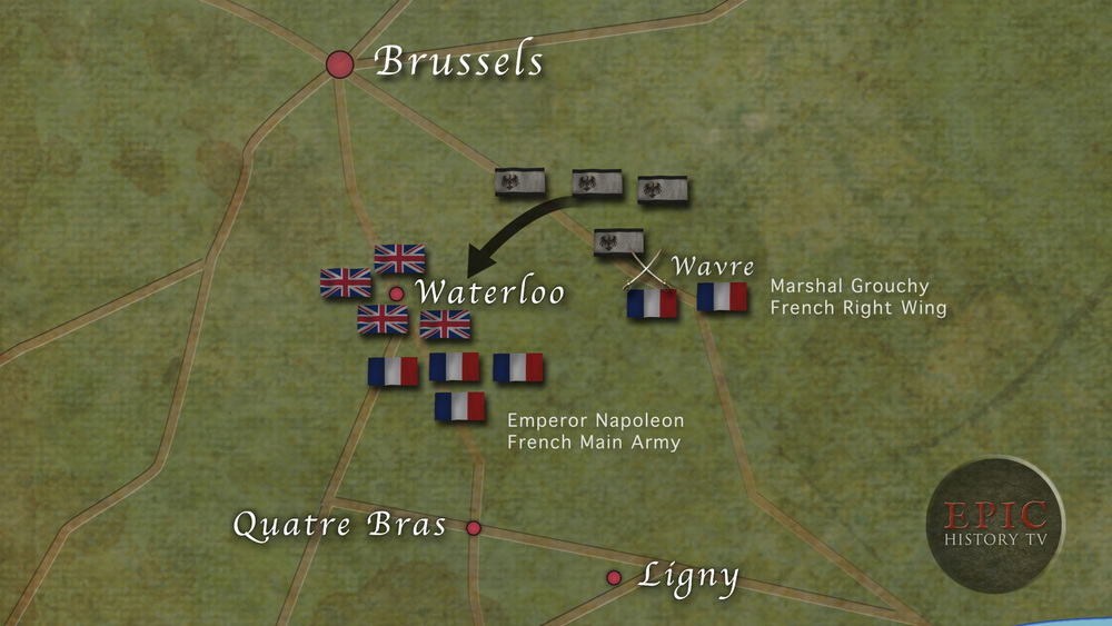 On 16 June, Napoleon defeated the Prussian army at Ligny, and sent his right wing under Marshal Grouchy in pursuit, to prevent the Prussians rallying and joining with Wellington's Anglo-Allied army at Waterloo. But Grouchy became entangled with the Prussian rearguard at Wavre, allowing the main force to slip past him and march to Wellington's aid. This meant that at Waterloo, Napoleon only had a few hours to defeat Wellington's army, before Prussian troops began to arrive on the battlefield.  WATCH VIDEO