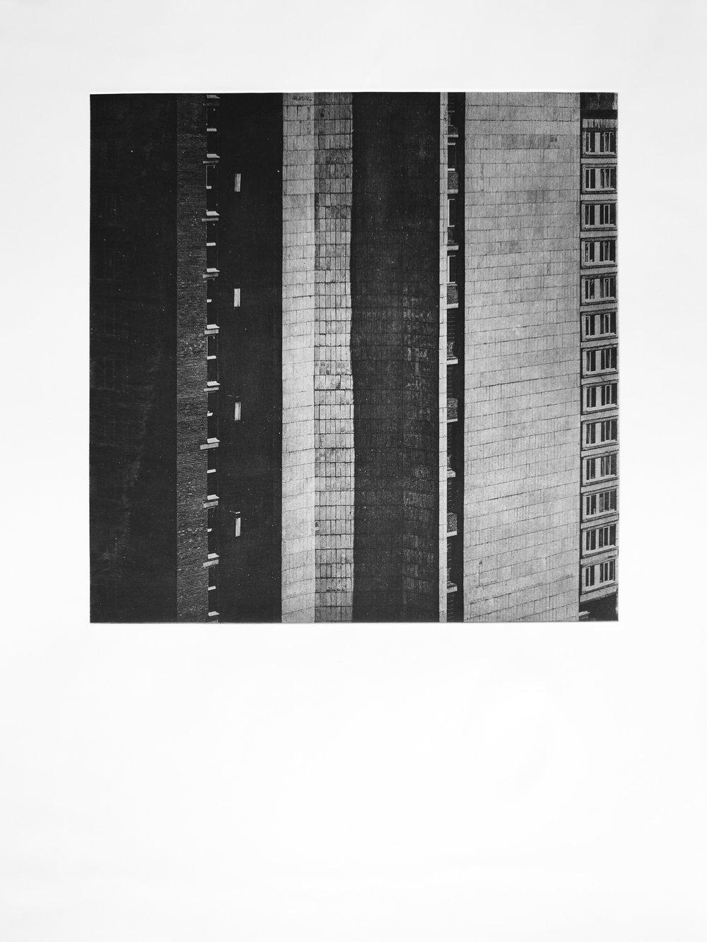 Der Bau iII (2017)  medium: Heliogravüre  size: 60 x 80 cm  paper: Zerkall 270 g/qm  plate: 44 x 44 cm  edition: 11 copies  numbered: 1/7 - 7/7, 4 e.a.  printer: FWU