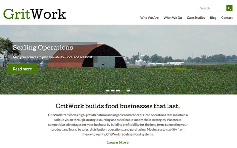 CLIENT GritWork, Sustainable Solutions PROJECT Website SERVICES Web Design, Creative Direction