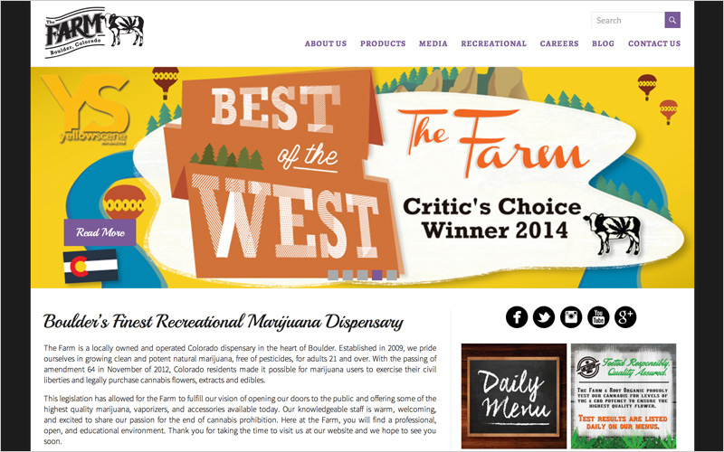 CLIENT The Farm, Colorado Dispensary  PROJECT Website  SERVICES Web Design, Creative Direction