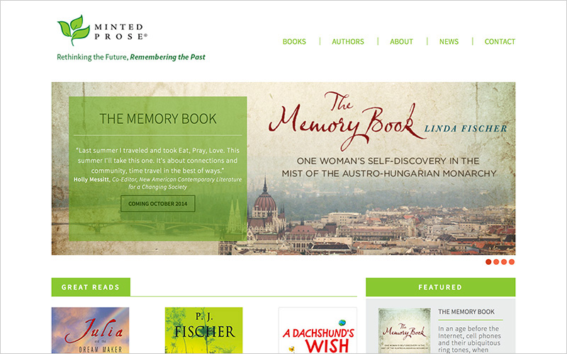 CLIENT Minted Prose, Book Publisher PROJECT Website SERVICES Web Design, Production Design