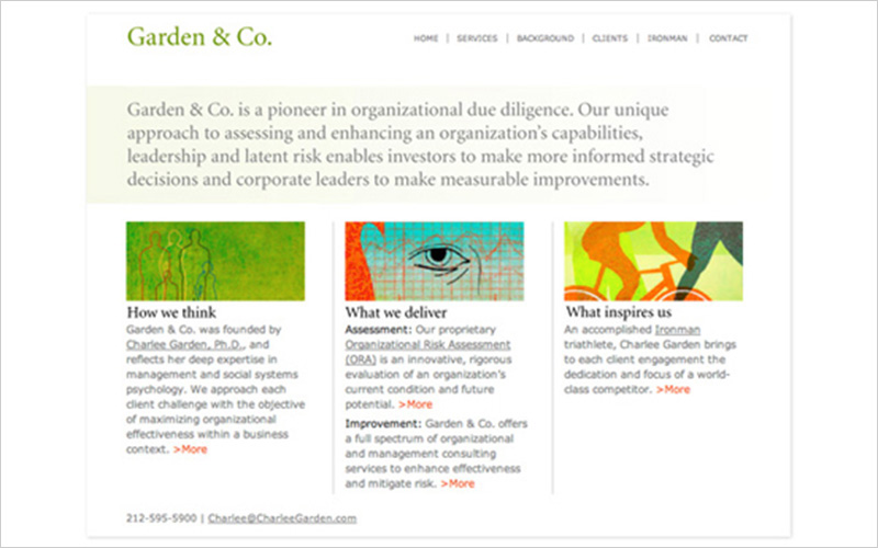 CLIENT  Garden & Co., Consultantcy   PROJECT  Website   SERVICES  Web Design & Development
