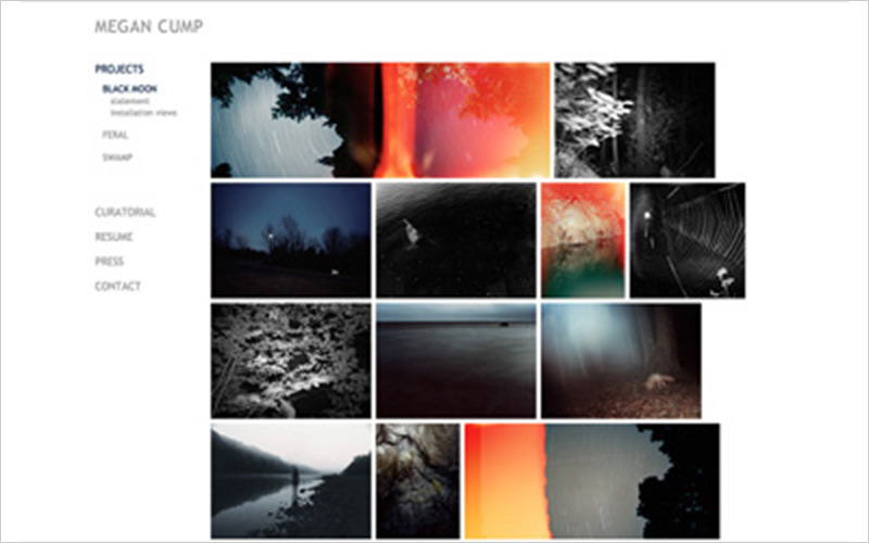 CLIENT Megan Cump, Photographer PROJECT Website Portfolio for Artist SERVICES Web Design & Development