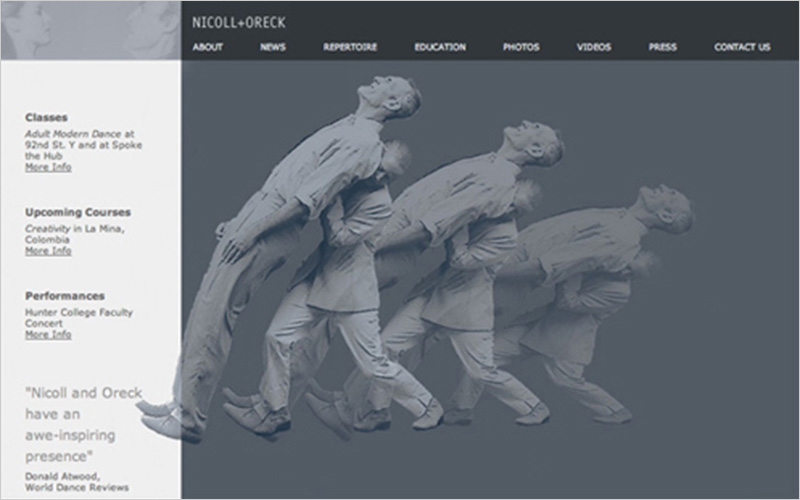 CLIENT Nicoll + Oreck PROJECT Website Portfolio for Dancers SERVICES Web Design & Development