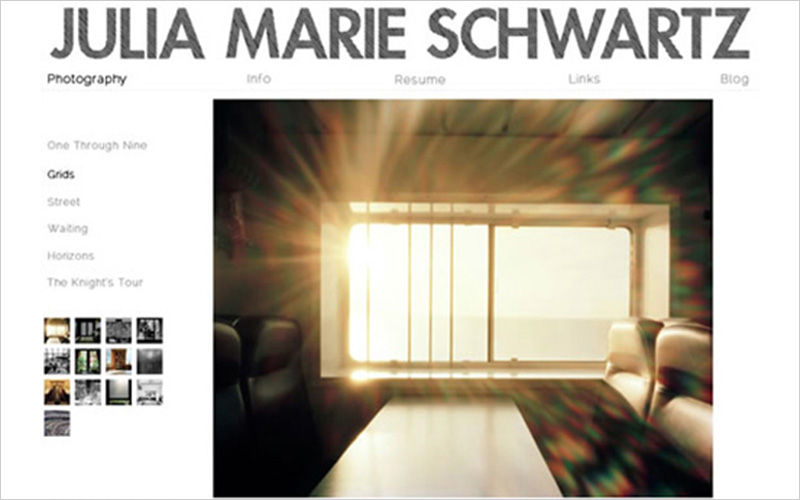 CLIENT  Julia Marie Schwartz, Photographer   PROJECT  Website portfolio with galleries.   SERVICES   Web Design Consulting & Instruction