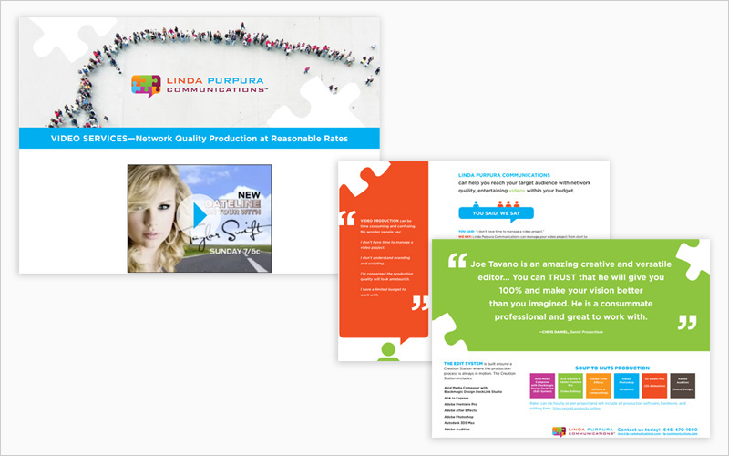 CLIENT Linda Purpura Communications PROJECT PDF brochure for web download SERVICES Production Design, Electronic Publishing