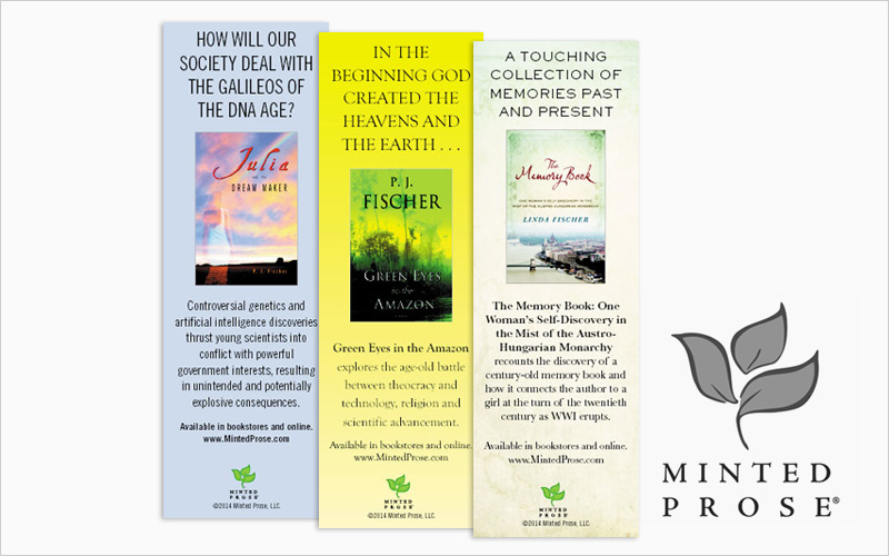 CLIENT  Minted Prose, Book Publisher   PROJECT  Promotional Bookmarks   SERVICES  Graphic Design, Prepress