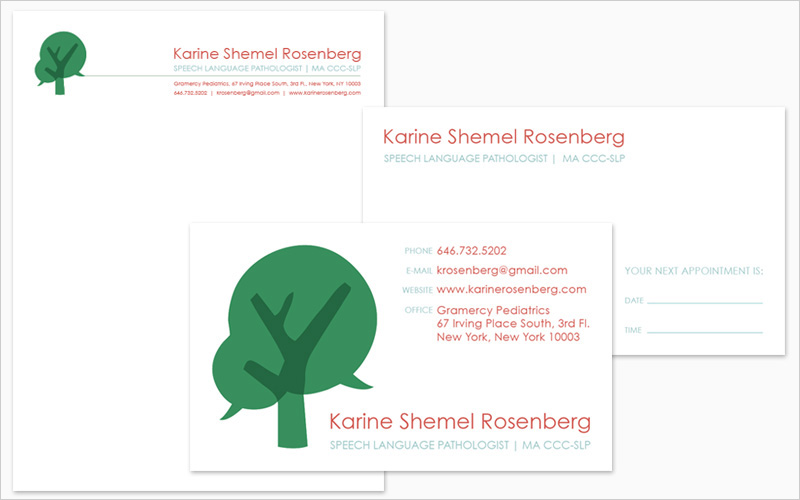 CLIENT Karine Shemel Rosenerg PROJECT Letterhead and 2-Sided Business Card SERVICES Graphic Design, Branding, Identity