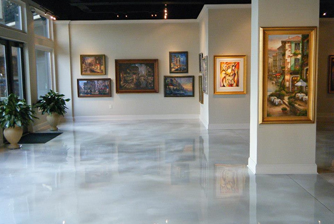 art gallery floor, art gallery flooring, white flooring, white epoxy floor, metallic flooring,