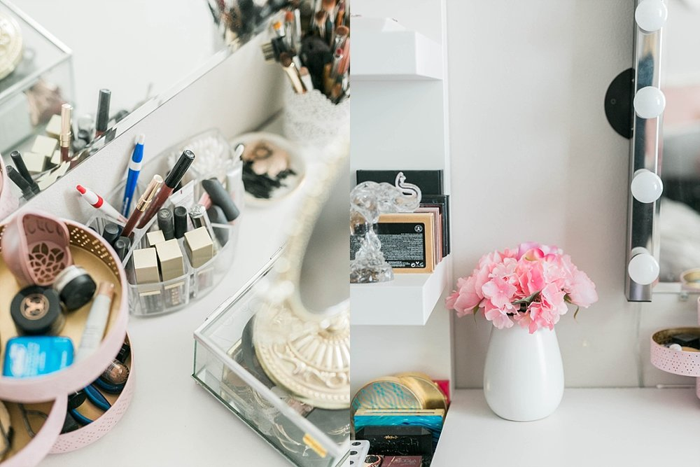 Makeup vanity setup, beauty blogger
