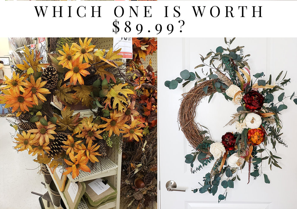 Which one of these wreaths do you think cost $89.99?