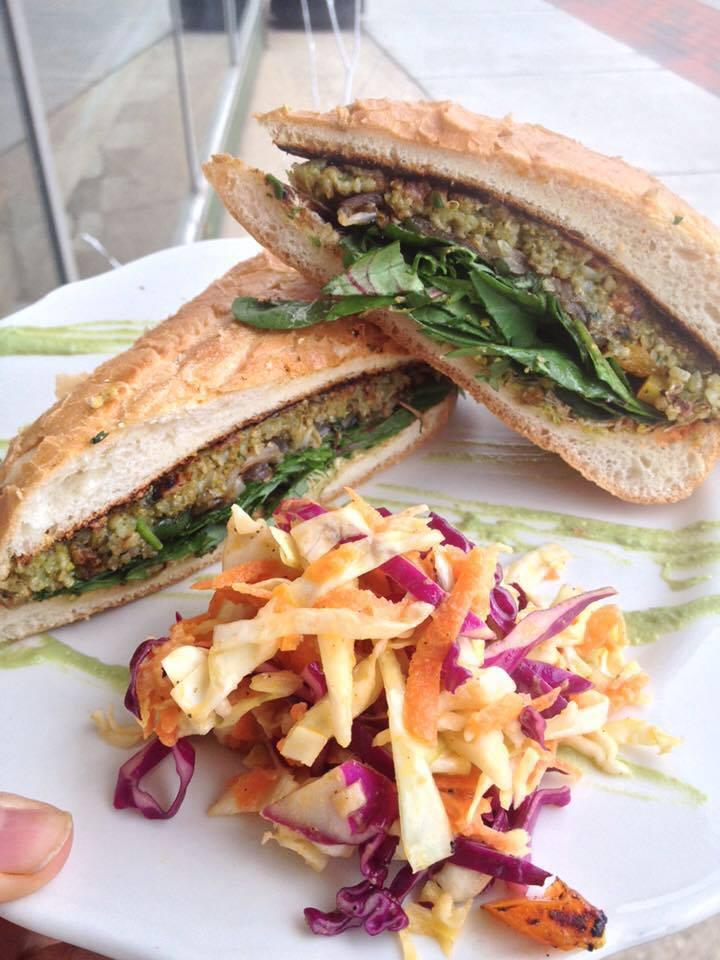 Vegan Falafel Sandwich with fermented tri-color slaw