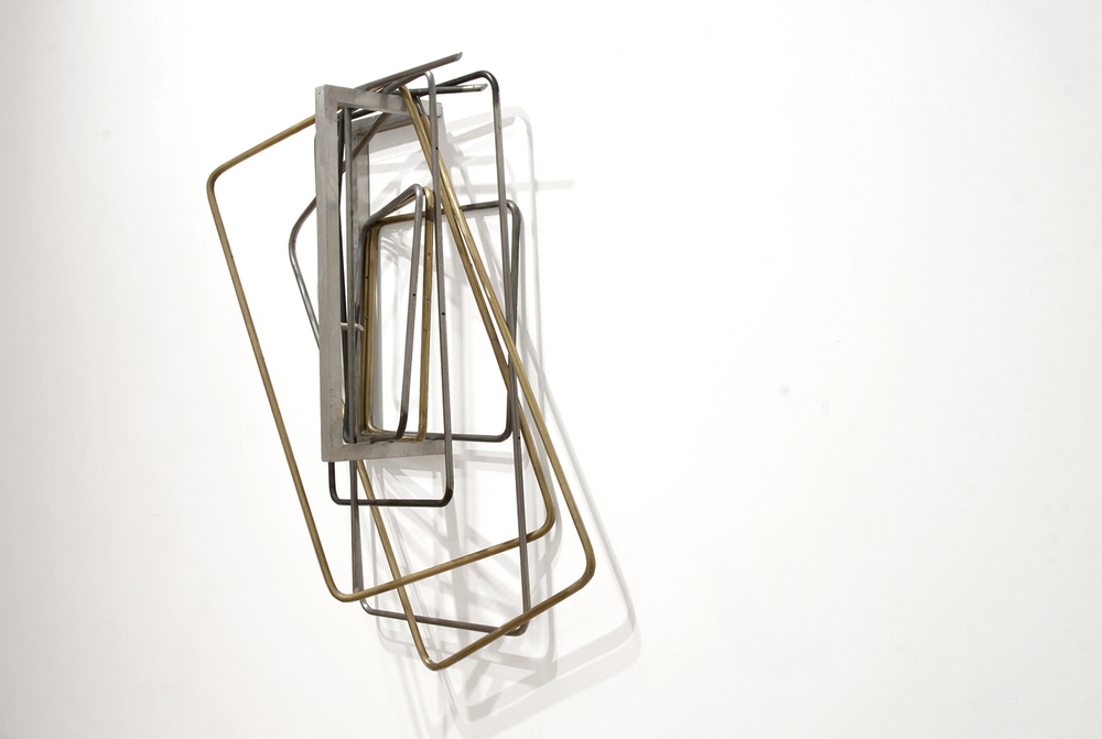 untitled (folding chairs), 2015; steel, brass, aluminium