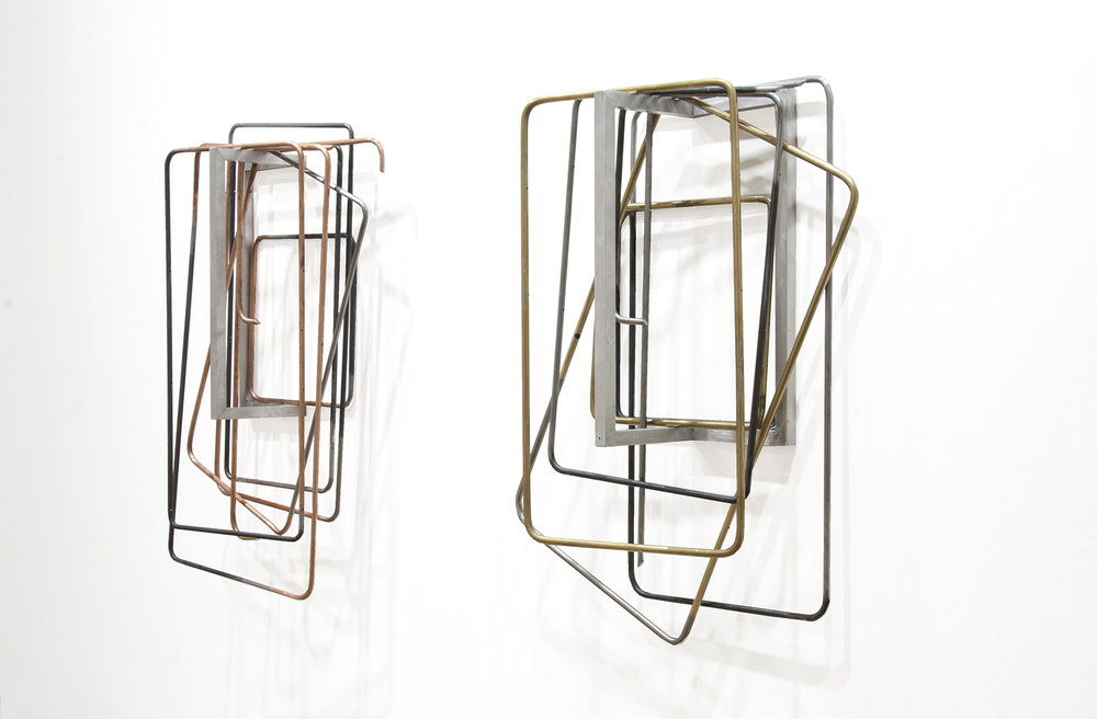 untitled (folding chairs diptych), 2015; copper, steel, brass, aluminium