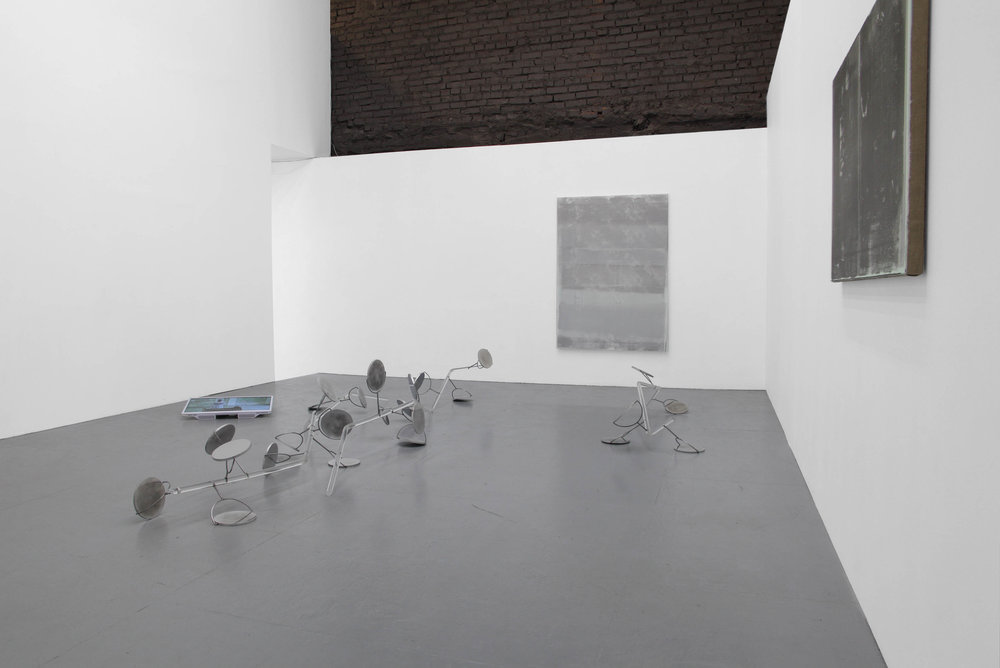 Rhizome17, 2017 Polished aluminium, acrylic rods. Installation view with Olga Grotova
