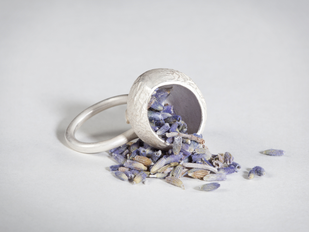 secluded   – 2012  – silver and lavender seeds