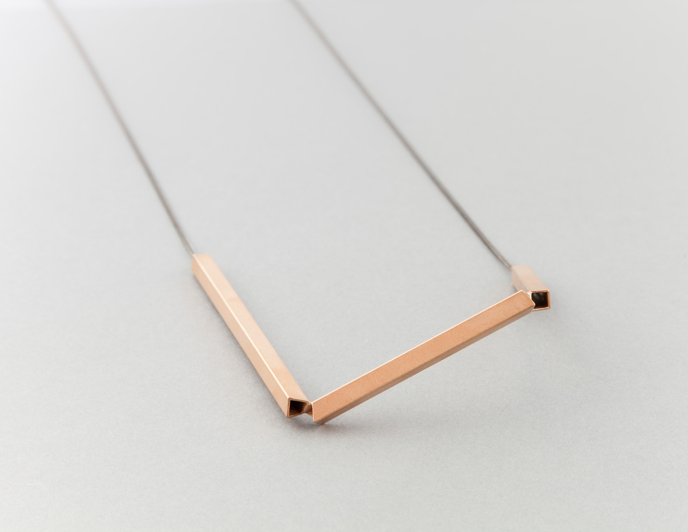 4x4 multi angles necklace - black rhodium & rose gold plated silver