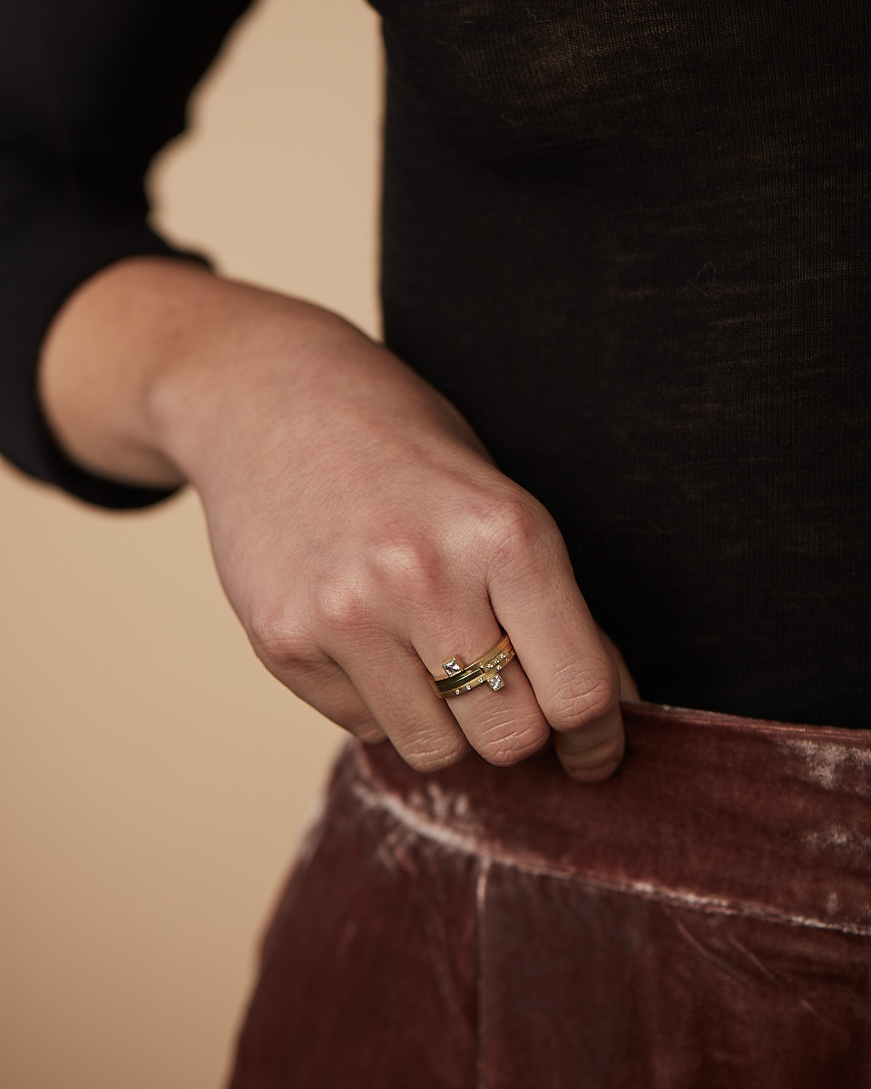 - Delicate and minimalistic in their look, the Lines of Latitude rings can be stacked together or worn on their own.