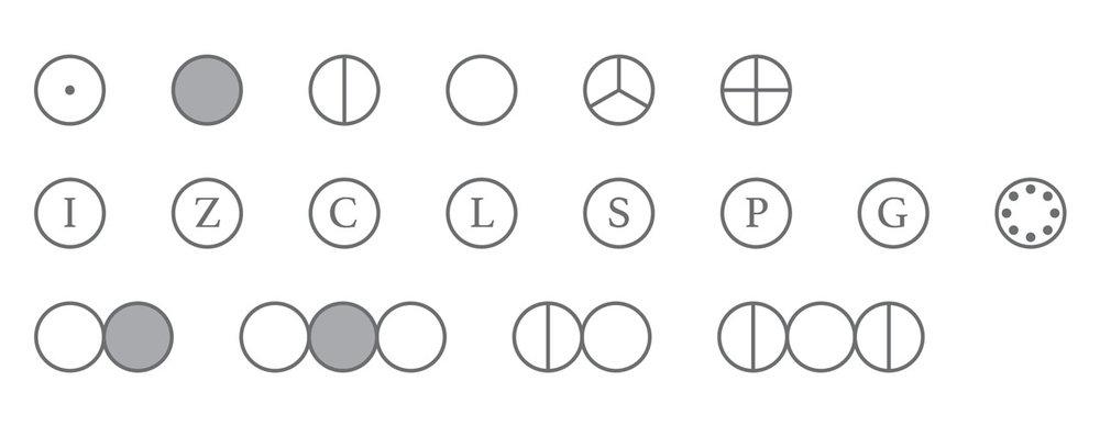 第一行从左至右:氢(H),碳(C),氮(N),氧(O),磷(P),硫(S)。 第二行从左至右:铁(Fe),锌(Zn),铜(Cu),铅(Pb),银(Ag),铂(Pt),金(Au),汞(Hg)。 第三行从左至右:一氧化碳(CO),二氧化碳(CO2),一氧化氮(NO),一氧化二氮(N2O)。 注释:说有数字都应为下角标。