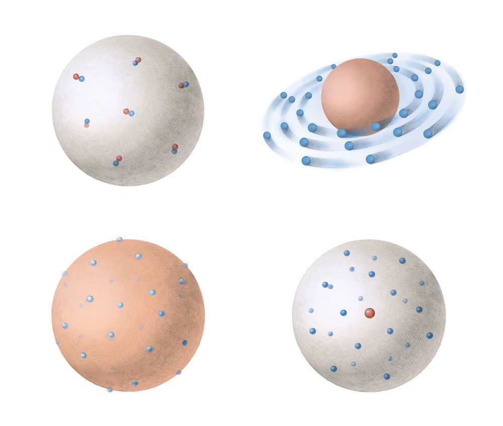 Top left: dynamid model, top right: Saturn model, bottom left: plum pudding model, bottom right: nucleus model.