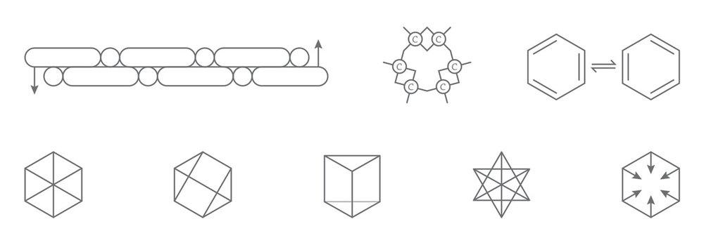 第一行前两个:1865年凯库勒苯分子结构式,后面一个:1872年凯库勒苯分子结构式。 第二行从左至右:克劳斯结构式I,克劳斯结构式II,拉登堡结构式I,拉登堡结构式II,阿姆斯特朗结构式。