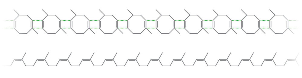 上:早期天然橡胶小分子结构式。 下:天然橡胶高分子结构式。