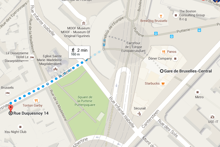 EN TRAIN  La Gare Centrale se trouve à 2 minutes à pied de La Madeleine !  www.sncb.be