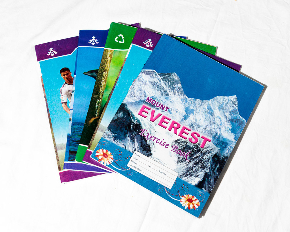 Notebooks - 1 Nepali book, 1 English book, 1 Math book, 1 Drawing book