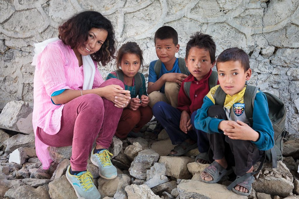 Rewati Gurung talks to pupils of the Shree Salme Primary School about their experiences during the earthquake.