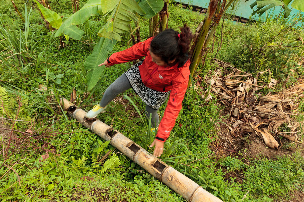 Rewati demonstrates a traditional bamboo ladder.