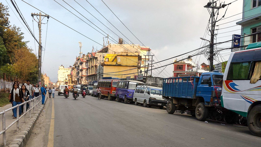 Most of the traffic that passes through Kathmandu has come to a stand still as a result of the economic blockade affecting the whole country at the Indian border.