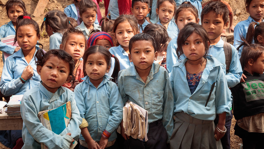 School children without school bags - waiting for the new bags.