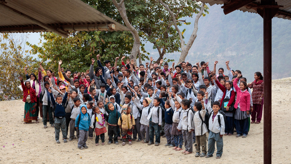 Delighted pupils from Shree Jwala Devi basic level school in Khavre district, Nepal.