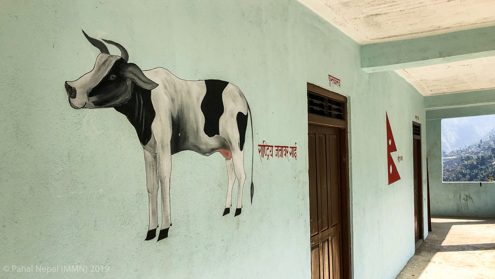 There are beautiful paintings on the walls of the new school building at Praja Basic School.