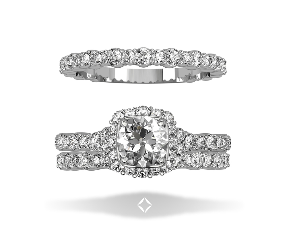 Integré Diamond Micropave Wedding Band and Engagement Ring